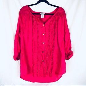 Soft Surroundings Hot Pink Linen Blouse Large